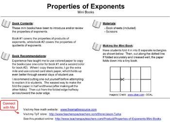 Systems of Equations / Properties of Exponents - Two Pack of Mini Books