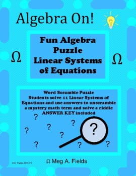 Fun Algebra Puzzles - Solving Linear Systems of Equations