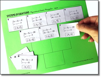 Systems of Equations Pyramid Sum Puzzles (3 puzzles included)