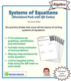 Systems of Equations - QR Code Worksheet Pack