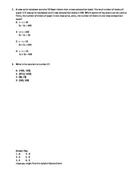 Systems of Equations Quiz TEKS A.2I, A.5C