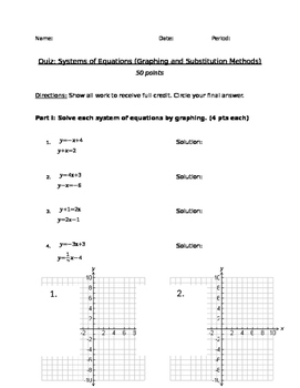 Systems of Equations Quiz, Graphing and Substitution
