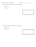 Systems of Equations Quiz - Substitution