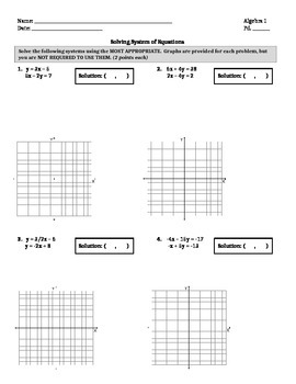 Systems of Equations Quiz/Practice
