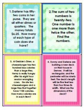 Systems of Equations - REVIEW - 35 Mixed Word Problems - Worksheet Task Cards