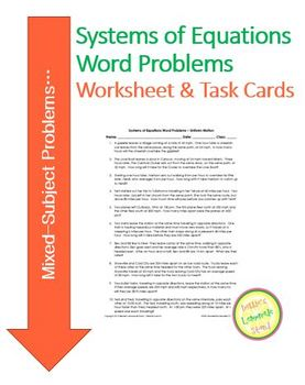 Systems of Equations - REVIEW - 35 Mixed Word Problems - W