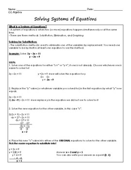 Systems of Equations Regents Review (Notes & Practice Questions)