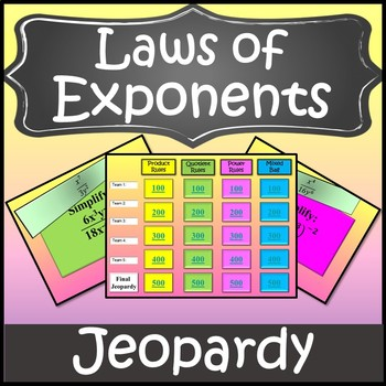 Exponent Rules Activity {Laws of Exponents Game} {Algebra Game}