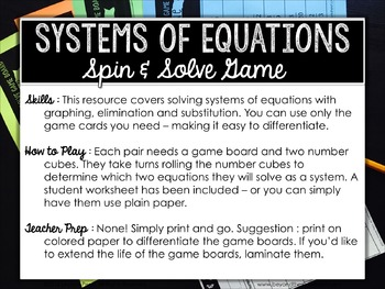Systems of Equations Review Game