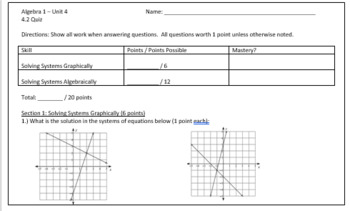Systems of Equations Review Sheet and Quiz