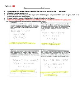 Systems of Equations Round Table Activity(Break Even word problems)