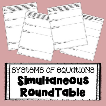Systems of Equations - SIMULTANEOUS ROUNDTABLE