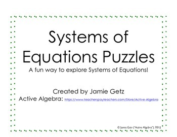 Systems of Equations - SOE Puzzles