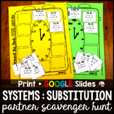 Systems of Equations SUBSTITUTION Partner Scavenger Hunt -