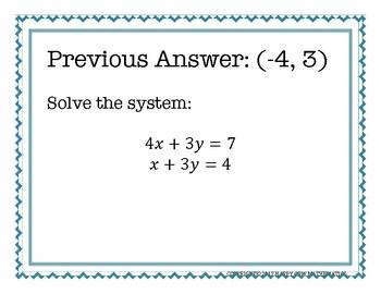 Systems of Equations Scavenger Hunt Algebra 1