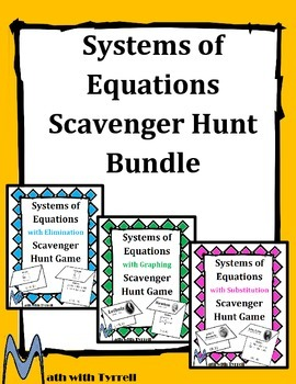 Systems of Equations Scavenger Hunt Bundle