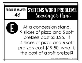 Systems of Equations Word Problems Scavenger Hunt