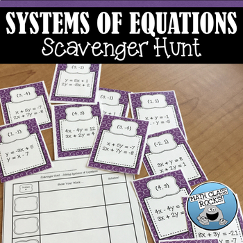 SYSTEMS OF EQUATIONS - SCAVENGER HUNT!  (Task Cards/Skill Building Activity)