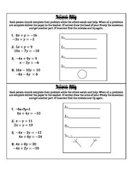 Systems of Equations Snowman Relay Race