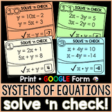 Systems of Linear Equations Solve 'n Check! Tasks - print