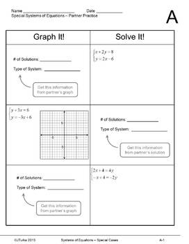 Systems of Equations - Special Cases (Partner Practice Sheets)