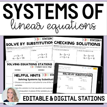 Systems of Equations : Middle School Math Stations