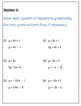 Systems of Equations - Stations Activity