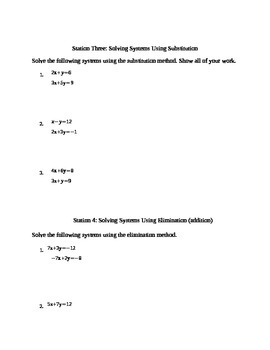 Systems of Equations Stations Review