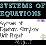Systems of Equations Story and Comic Book Unit Project  EDITABLE