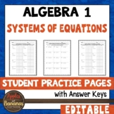 Systems of Equations - Student Practice Pages