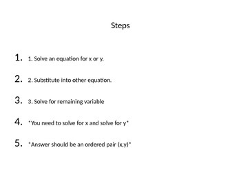 Systems of Equations- Substitution