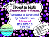 Systems of Equations Substitution Advanced:  No Prep Fluent in Math Series