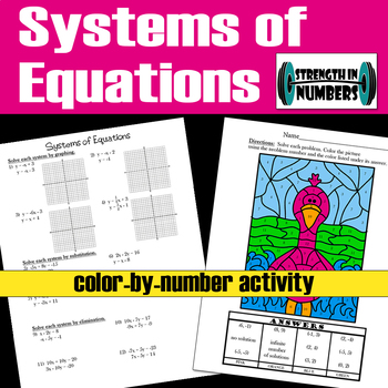 Systems of Equations Substitution, Graphing, Elimination Coloring Activity