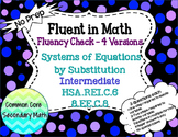 Systems of Equations Substitution Intermediate : No Prep Fluent in Math Series