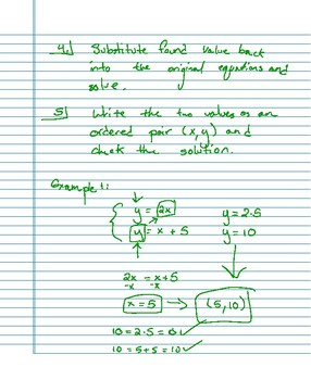 Systems of Equations - Substitution Method