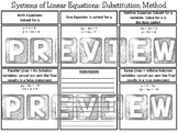 Systems of Equations Substitution Method Graphic Organizer