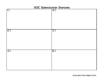 Systems of Equations Substitution Method Stations - from bundle