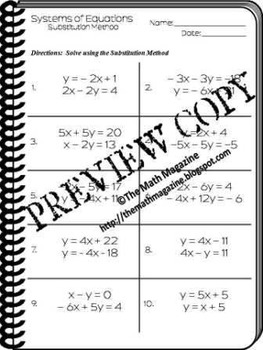 Systems of Equations Substitution Method Worksheet A.CED.3, A.REI.5, A.REI.7