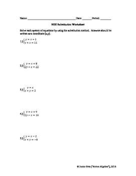 of Equations Substitution Method Worksheet - from bundle