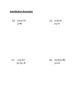 Systems of Equations Substitution Notes