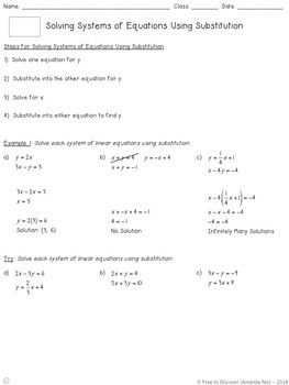 Systems of Equations (Substitution) Notes and Practice (Differentiated)