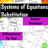Systems of Equations Using Substitution Differentiated Self-Checking Worksheets