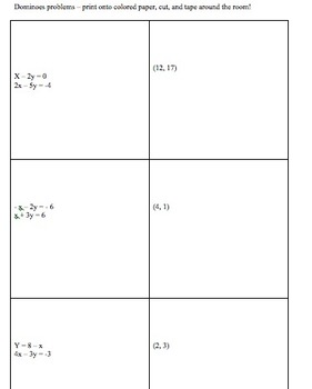 Systems of Equations Substitution Practice and Dominoes Activity