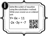 Systems of Equations Substitution Task Cards with QR