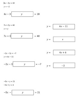 Systems of Equations Substitutions Manipulative