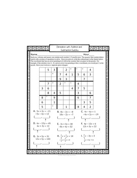 Systems of Equations Sudoku Game