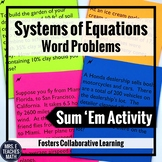 Systems of Equations Word Problems Sum Em Activity