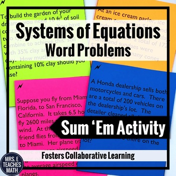 Systems of Equations Sum Em Activity: Word Problems