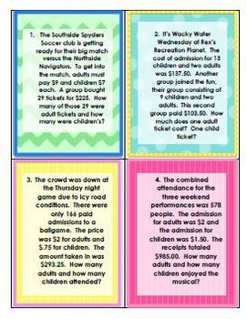 Systems of Equations - TICKETS! - Worksheet Assessment and Task Cards