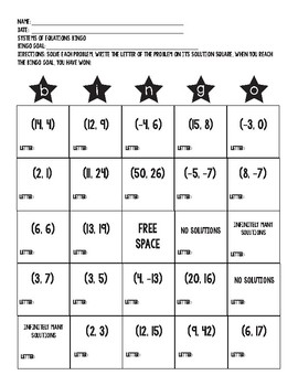 Systems of Equations Task Card Bingo